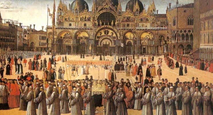 Processione con la reliquia della Santa Croce nel corpus Domini
